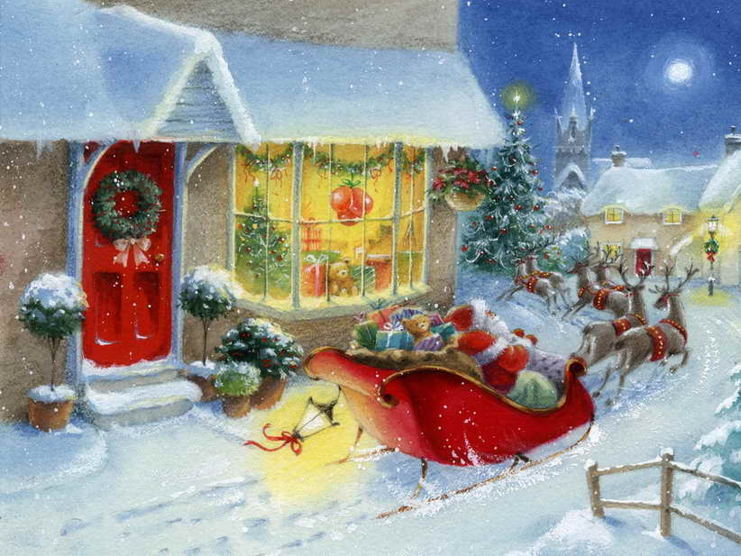 Free shipping! Santa Claus Art Oil Painting Picture Printed On Canvas Home Decoration For Christmas Gift