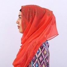 New Woman hijab Solid Color Rhinestone Decoration Chiffon Silk Popular Shawls Scarf Headband Muslim Hijab Turban Free Shipping