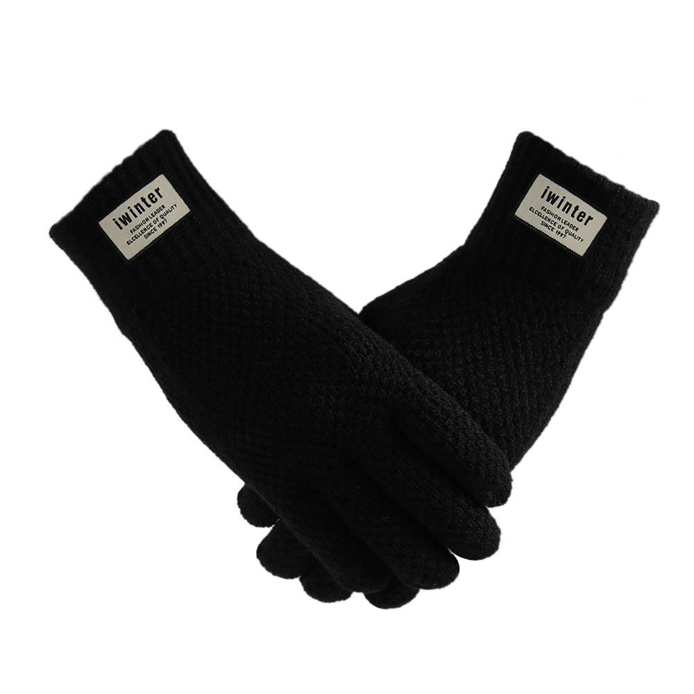 Mens Women Winter Warm Kint Five Finger Fleece Lined Touch Screen Thermal Gloves
