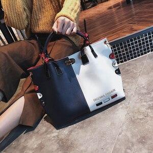 Image 4 - กระเป๋าถือผู้หญิงกระเป๋าแฟชั่นผู้หญิงกระเป๋าหนัง PU กระเป๋าสุภาพสตรีออกแบบ Patchwork กระเป๋าถือหญิง Casual กระเป๋าสะพายขนาดใหญ่
