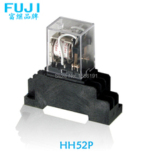Free shipping The relay switch DC12V 2 loads HH52P Relay switch The general power relay with base socket Linkage switch 10 sets free shipping ly4nj hh64p dc24v 14pin 10a power relay coil 4pdt with ptf14a socket base
