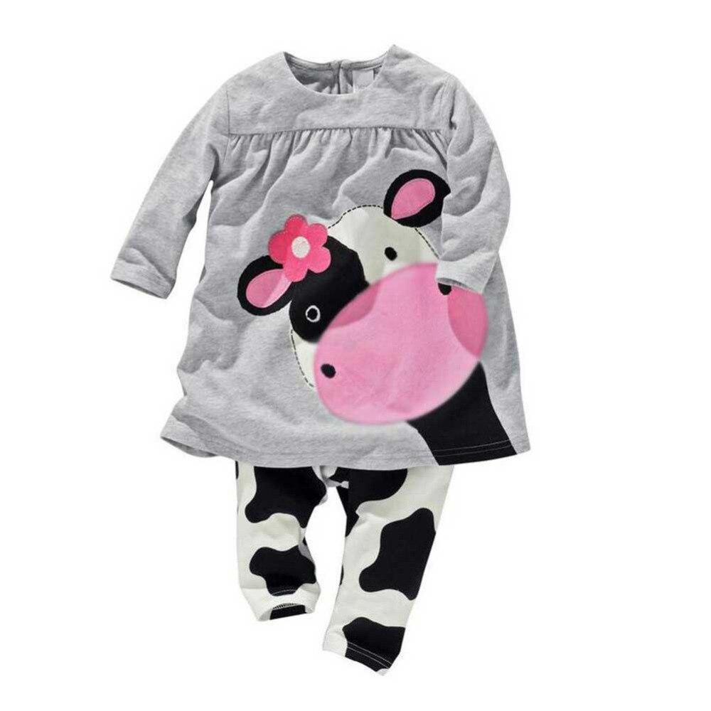 2 PZ Autunno Neonate di Inverno Vestiti di Cotone Set Caldo Latte di Mucca Stampa Manica Lunga Camicetta Top + Carino pantaloni Abbigliamento Suit