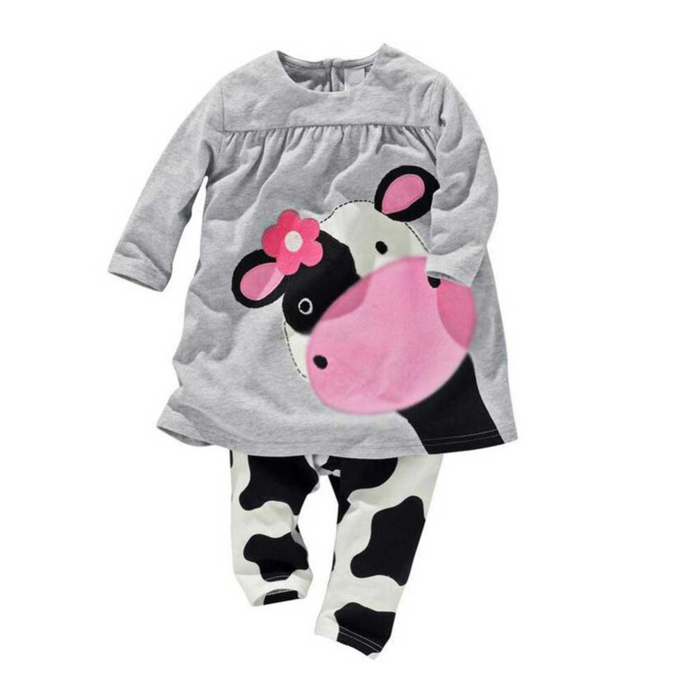 2PCS Autumn Baby Girls Winter Cotton Clothes Set Warm Milk Cow Print Long Sleeve Shirts Blouse Tops+Cute Pants Clothing Suit warm thicken baby rompers long sleeve organic cotton autumn