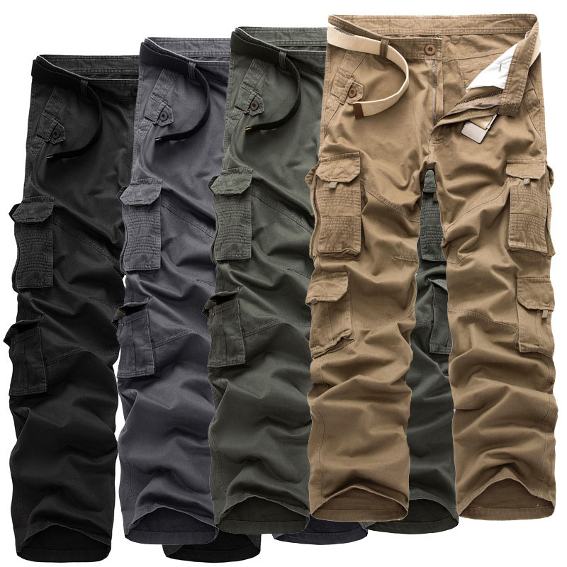 Naroface Men's Cargo Pants Casual Mens Multi Pocket Pant Military Overall Outdoors Long Trousers Plus size