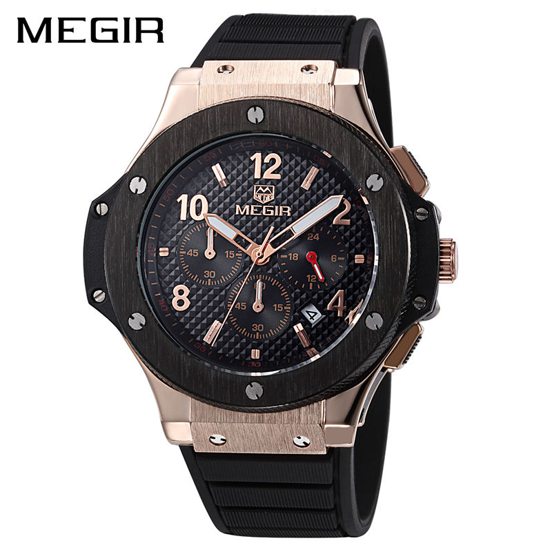 MEGIR Original Quartz Men Watch Big Dial Silicone Sport Military Watches Clock Men Chronograph Wristwatch 3002
