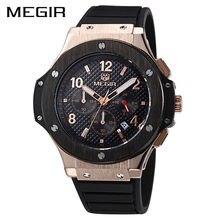 MEGIR Cuarzo Original Hombres Reloj Grande Del Dial de Silicona Relojes Deportivos Militar Reloj de Los Hombres del Cronógrafo Reloj 3002 Relogio masculino
