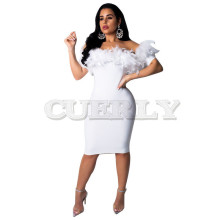 CUERLY Women Sexy Dress Feather Neck Short Sleeve Slim Mini Bodycon Dresses Plus Size White Black Ladies Elegant