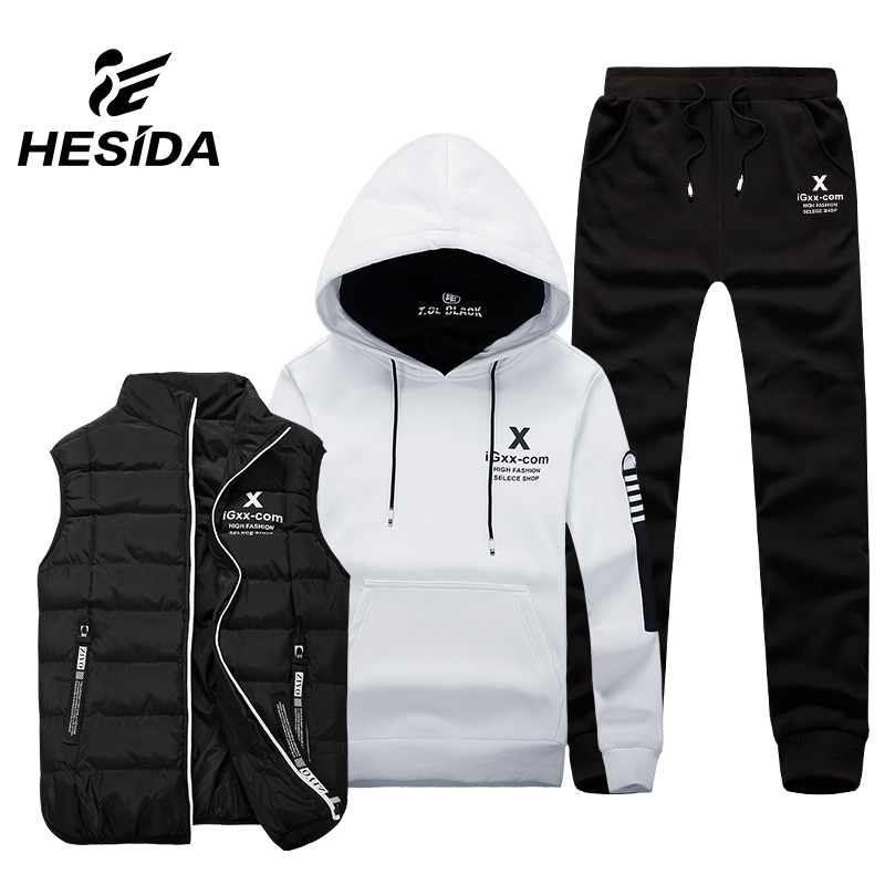 Men Sport Suit Set Cotton Brand Vest 3 Winter Warm Hoodie Sportswear Sweatshirt Clothes Male Coat Jogging Running Tracksuit Hood все цены