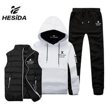ФОТО Men Sport Suit Set Cotton  Vest 3 Winter Warm Hoodie Sportswear Sweatshirt Clothes Male Coat Jogging Running Tracksuit Hood