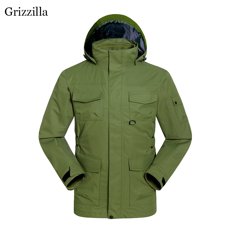 Grizzilla 3 in 1 Ski Jackets Thermal Waterproof High Quality Men Winter Snowboarding Camping Jacket Fit Russian -30 degree