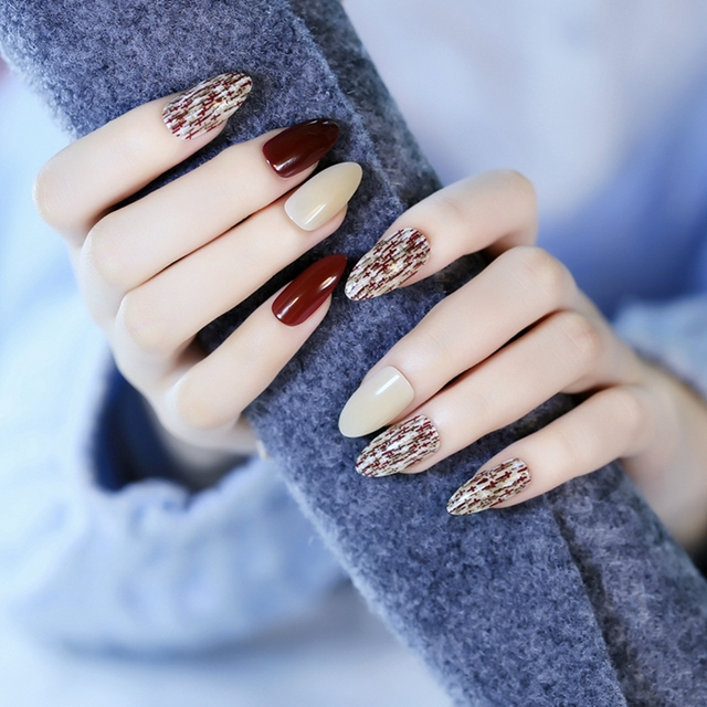 Long Pointed Wine Red False Nails Full Wrap Crossing Nail Art Tips ...