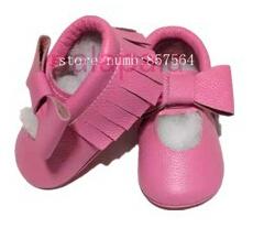 2016 Nuevos diseños de mary jane rosa de Bebé de Cuero Genuino zapatos Mocasines arco franja Bebé Zapatos Primeros Caminante del bebé recién nacido de Navidad