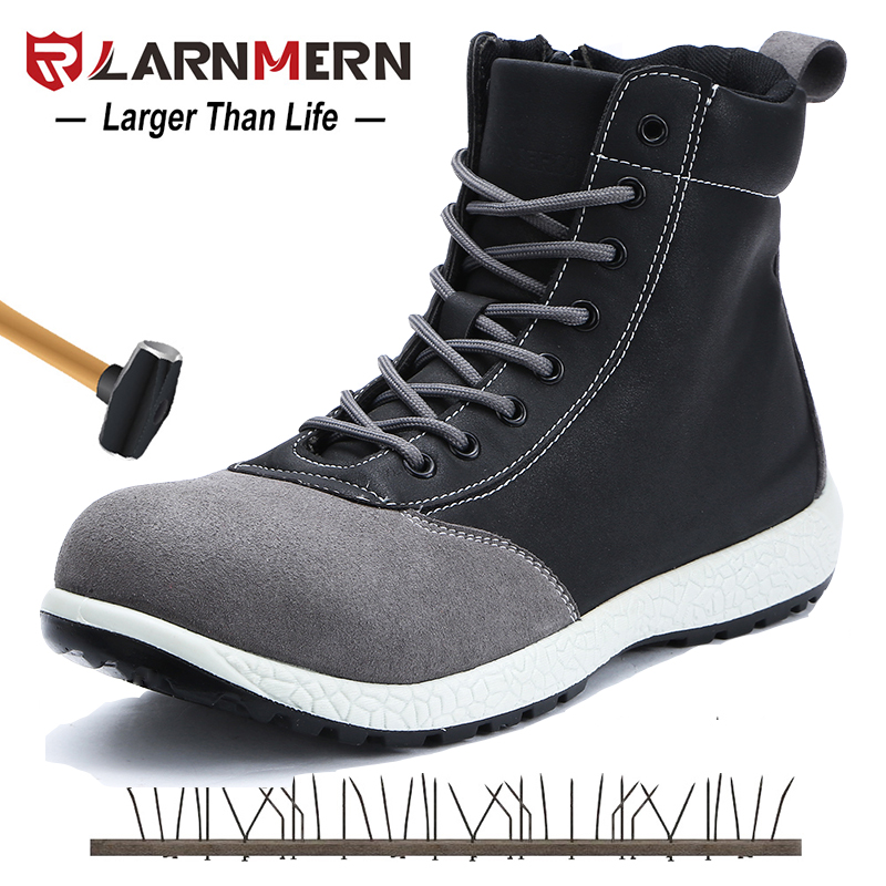 LARNMERN Mens Safety Boots Shoes Steel Toe Working Safety Shoes S1P Protection Grade Construction Ankle Boots