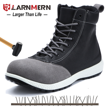 LARNMERN Mens Safety Boots Shoes Steel Toe Working Safety Shoes S1P Protection Grade Construction Ankle Boots Security Footwear