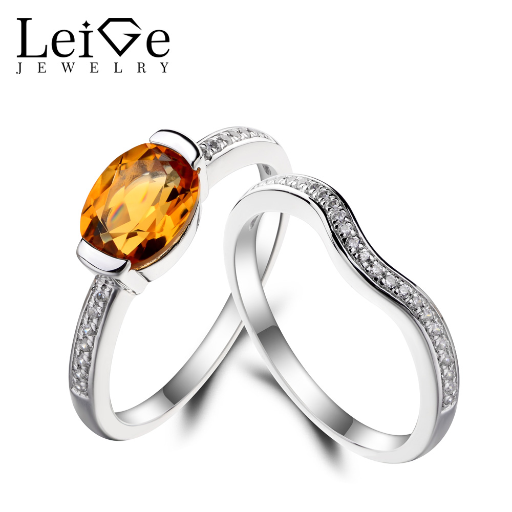 Leige Jewelry Natural Citrine Ring Citrine Engagement Ring Yellow Gemstone Bridal Sets Rings 925 Sterling Silver Gifts for Women топ женский insight citrine yellow