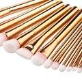 15 pcs Ouro Rosa Pincéis de Maquiagem Ferramentas Set Nylon Cabelo Escova de Fundação Blush Em Pó Corretivo Make Up Kit Cosméticos
