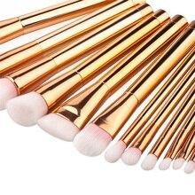 15pcs Rose Gold Makeup Brushes Tools Set Nylon Hair Foundation Blush Powder Concealer Brush Make Up Cosmetic Kit