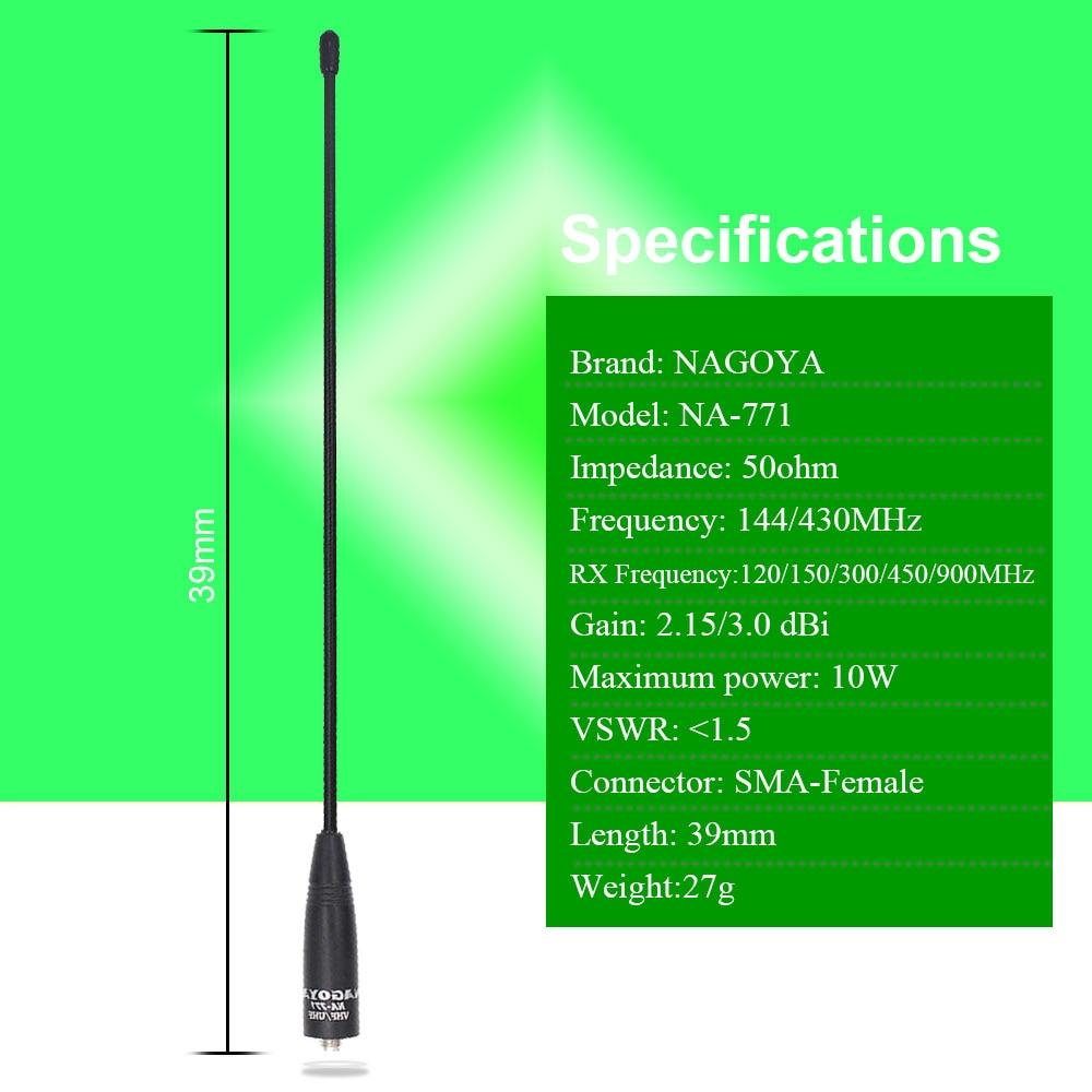 100% Original Nagoya NA-771 deux voies antenne Radio SMA femelle pour BaoFeng UV-5R UV-82 BF-888S émetteur-récepteur portable UV-9R