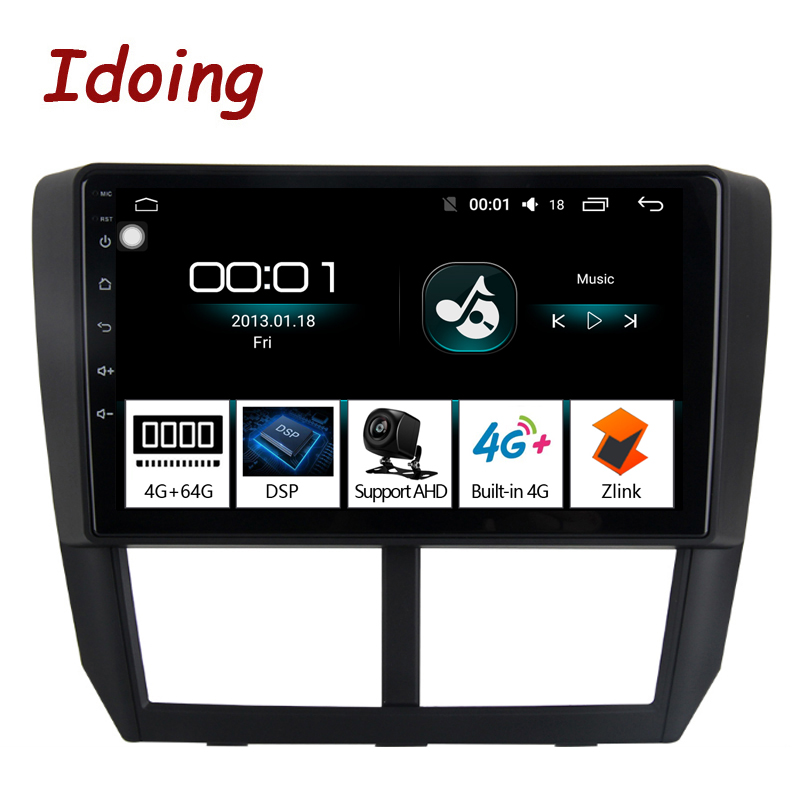 Idoing 1Din 9Car Radio GPS Multimedia Player Android 8.1 For Subaru Forester 2008-2012 4G+64G Octa Core Navigation Fast Boot