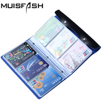 Fashion 108 Slots Credit Card Holder Bags Good Quality Leather Bank Card Bag 96 Cards Case