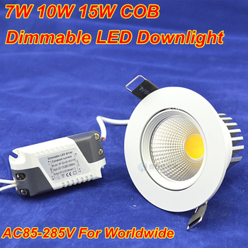 High Quality Dimmable Recessed led downlight cob 7W 10W15W dimming LED Spot light led ceiling lamp110V 220V home luminaire IP44