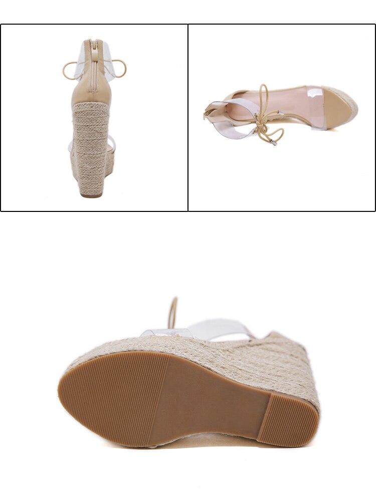 HTB13.bZcBCw3KVjSZFlq6AJkFXa5 Aneikeh Fashion PVC Sandal Women Transparent Sandals Lace-Up Wedges High Heels Black Gold Party Daily Pumps Shoes Size 35-40