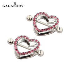 Valentine's Day 2017 New Retail 14G Heart Double Nipple Rings with Rhinestone 316L Surgical steel Women Body Jewelry