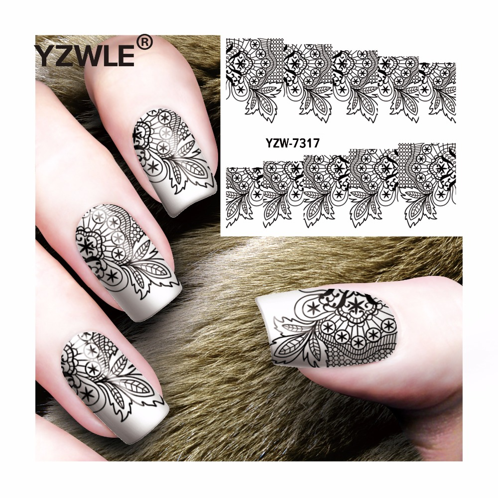 YZWLE 1 Sheet DIY Decals Nails Art Water Transfer Printing Stickers Accessories For Manicure Salon  YZW-7317 yzwle 1 sheet hot gold 3d nail art stickers diy nail decorations decals foils wraps manicure styling tools yzw 6015