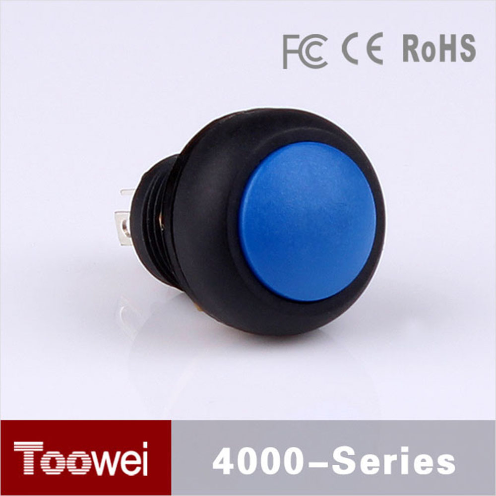 Toowei Plastic Blue 12mm Waterproof pushbutton swtich ip67 dome head round push button switch