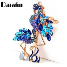Delicate Double Flamingo Bird Key Chains Rings Holder For Car Crystal Rhinestone Bag Pendant For Women Keyrings KeyChains K277