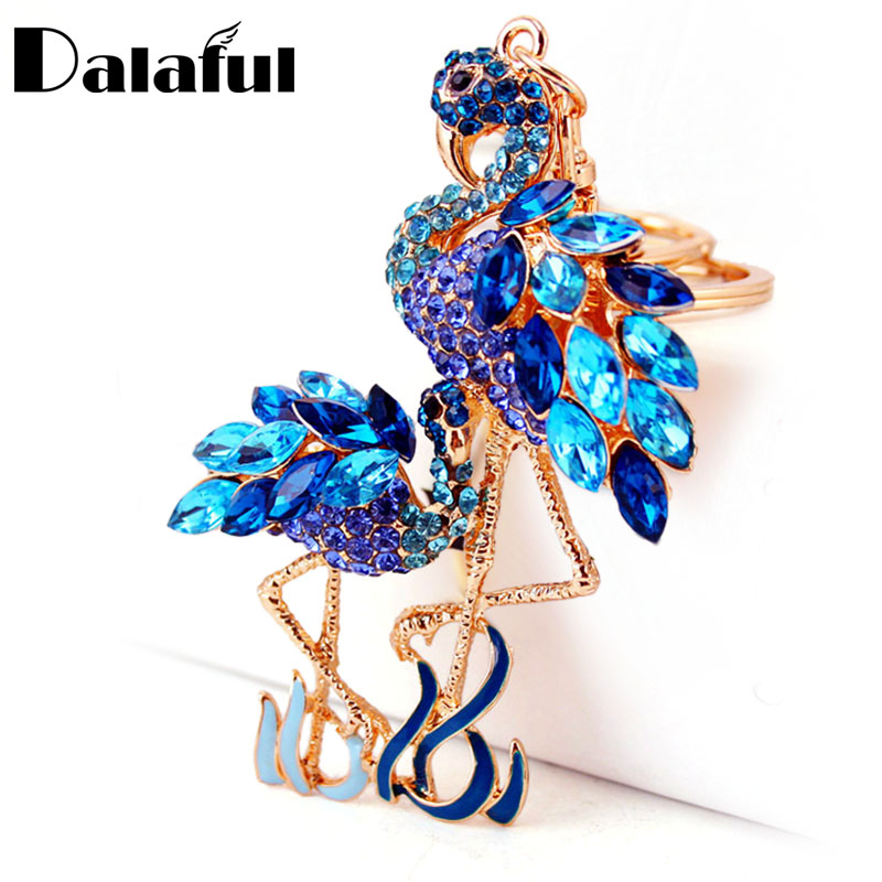 Delicate Double Flamingo Bird Key Chains Rings Holder For Car Crystal Rhinestone Bag Pendant For Women Keyrings KeyChains K277