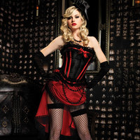 Black Satin Lace Rim With Red Boning Trimmed Victorian Bustier Corset Sexy Gothic Top Corselete Feminino Espartilhos Burlesque