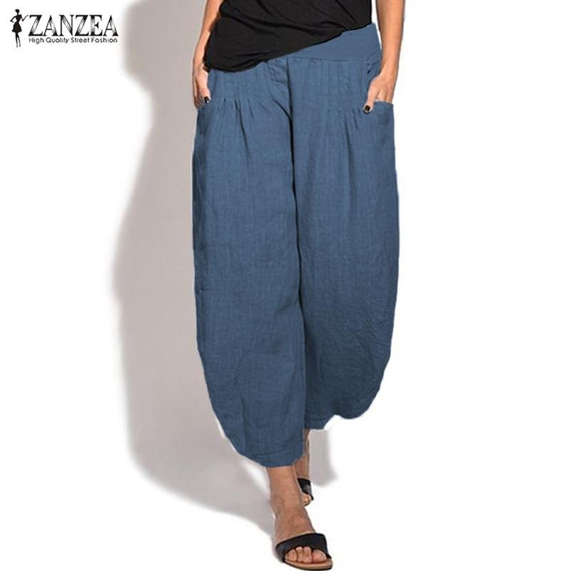 2021 ZANZEA Vintage Casual Wide Leg Pants Women's Trousers Female Elastic Waist Turnip Pant Summer Woman Pantalon Palazzo 5XL