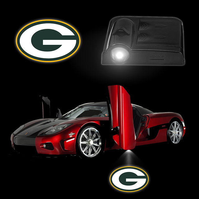 2PCS/Set Wireless Car Light GREEN BAY PACKERS Car Door Projector Lamps LED  Luminaria Lighting