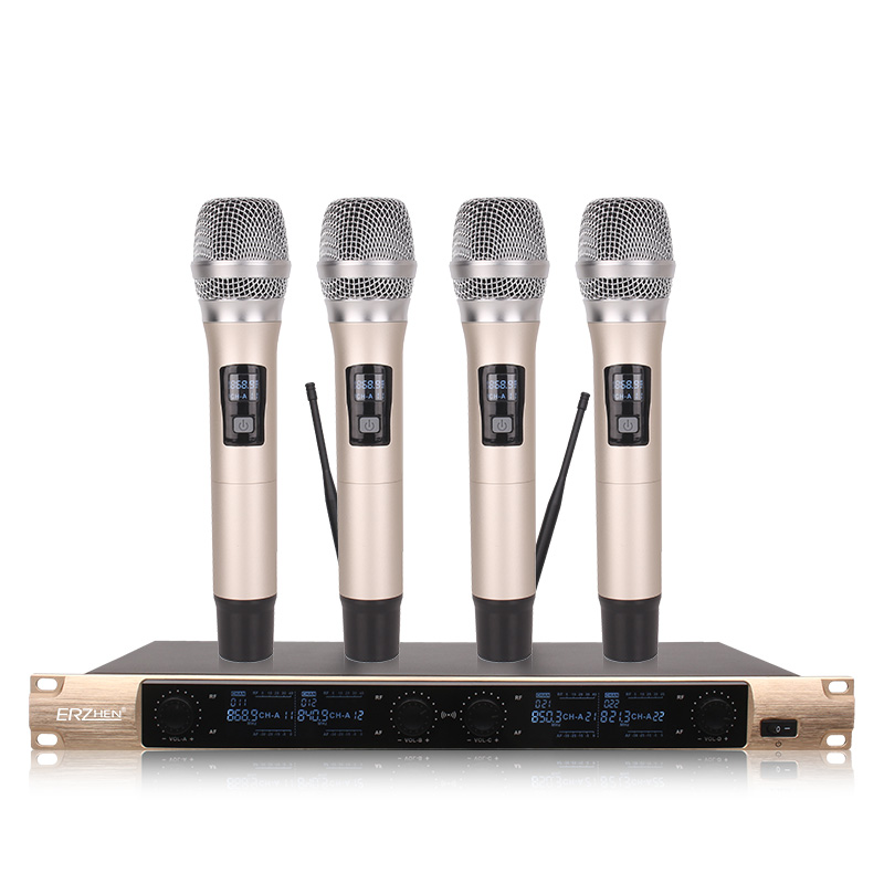 Wireless SystemX-4600 Professional Microphone 4 Channel VHF Professional 4 Handheld Microphone Stage Karaoke Wireless Microphone