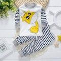 2017 primavera bebé ropa de marca de la raya de manga larga conjunto para niños ropa de bebé ropa infantil deportes traje de pijama de 2 unids conjuntos