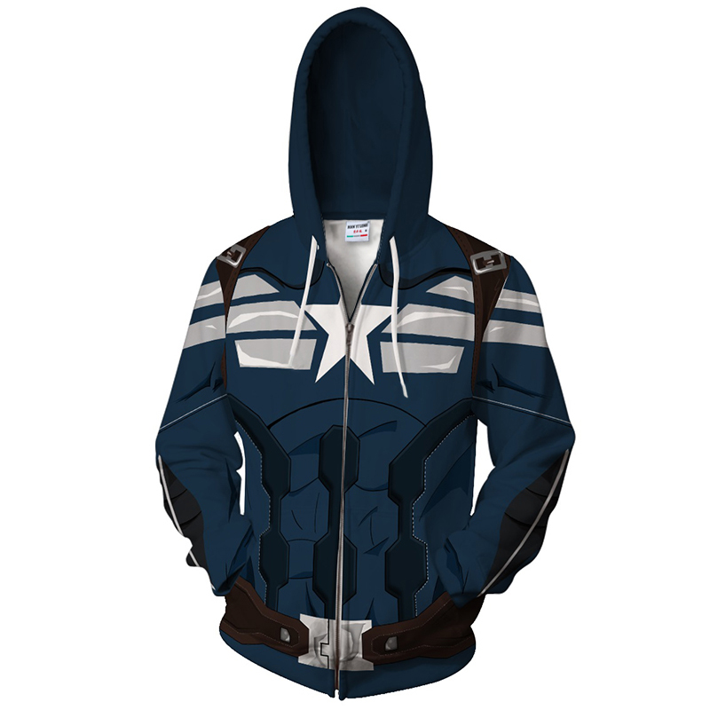2018 new Fashion Captain America Men Warm Liner Marvel Sweatshirt Men Captain America Zipper Sweatshirt Cartoon hip hop tops