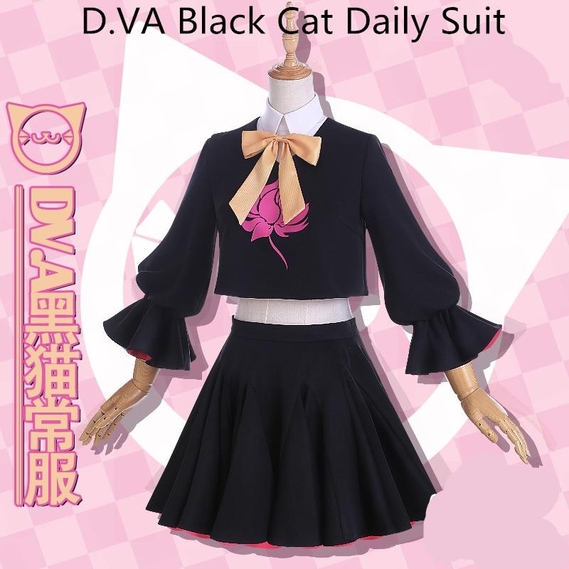 {Stock}}Cosplay D.VA Ha NaSong cosplay costume daily skirt daily suit crop top skirt d.va dress 1