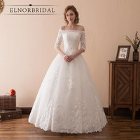 Elnorbridal Lace Ball Gown Wedding Dresses Real Photo 2018 Vestido De Novia Half Sleeves Sweetheart Handmade