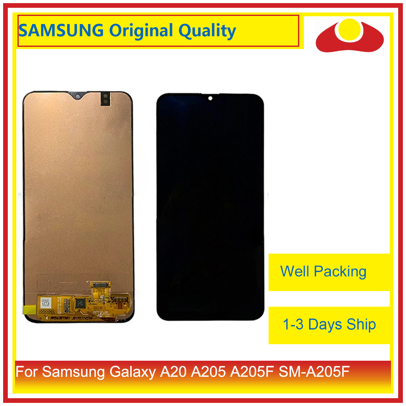 10Pcs/lot DHL For Samsung Galaxy A20 A205 <font><b>A205F</b></font> <font><b>SM</b></font>-<font><b>A205F</b></font> LCD Display With Touch Screen Digitizer Panel Pantalla Complete image