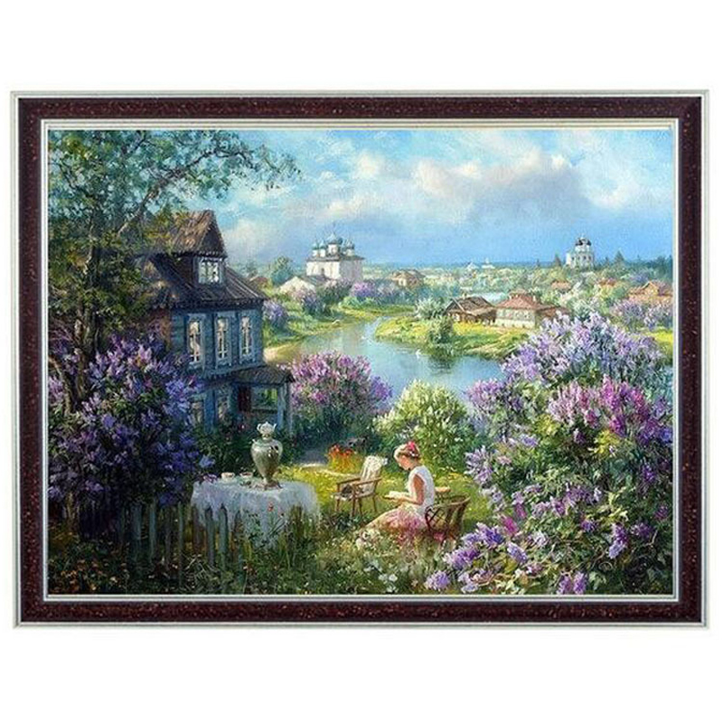 14ct The Painting Of Living Room Diy Counted Cross Stitch Reading In Countryside Small Town