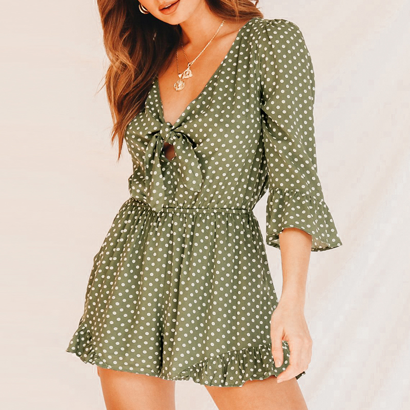 Conmoto Vintage Green Polka Dot Short   Jumpsuit   Sexy V Neck Bow Rompers Girl Casual Holiday Fashion High Waist   Jumpsuit   Playsuits