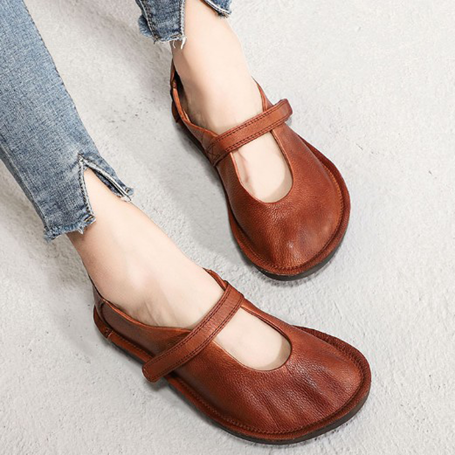 Genuine Leather Women Flats Casual Barefoot Female Vintage Hook Loop Shoes Women Handmade  Ballerinas  Footwear Sneaker 2019