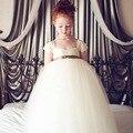 2016 Children Solid Long Dresses for Wedding Summer Flower Girls Formal Clothing Mesh Ball Gown Dress for Kids, HC756