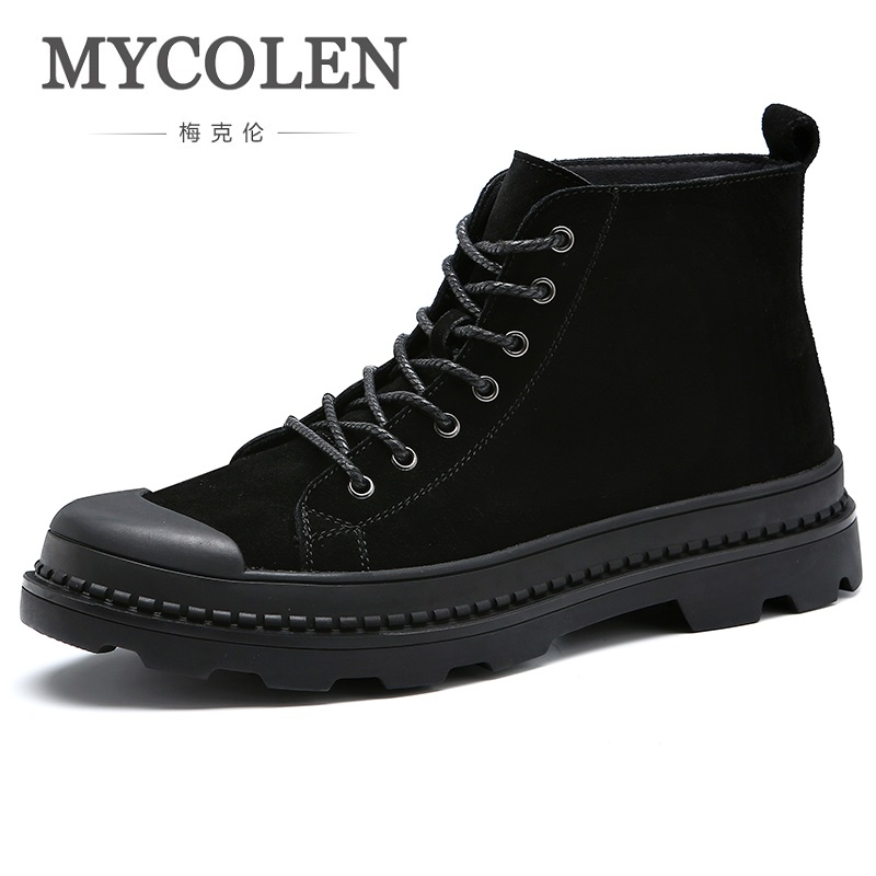 MYCOLEN 2018 Spring Autumn Brand New Genuine Leather Men Boots Fashion Warm Cotton Ankle Tide Martin Boots Shoes Men Erkek Bot 2018 fashion new men ankle martin boots basic high quality real genuine leather spring autumn luxury brand man black shoes 38 44