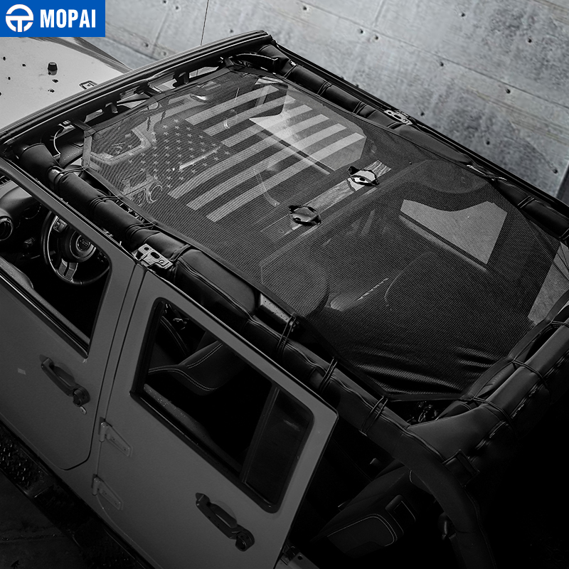 MOPAI 4 Door Car Roof Mesh Bikini Top Sunshade Cover UV Sun Shade Mesh for Jeep Wrangler JK 2007 2017 Car Accessories Styling in Car Covers from Automobiles Motorcycles