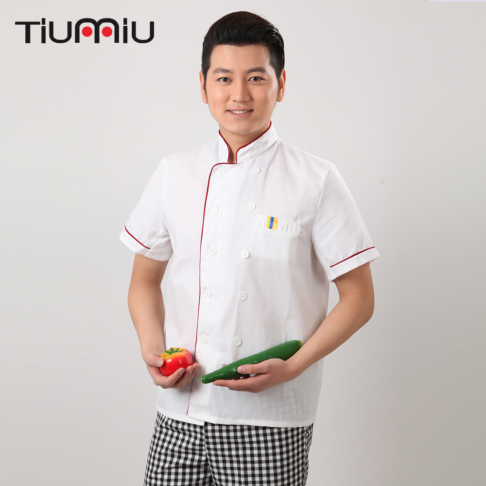 M-3XL White Wholesale Women Men Short-sleeve Double Breasted Kitchen Work Clothes Chef Jacket Catering Restaurant Bakery Uniform