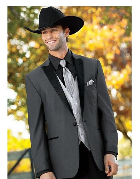 b77a12fad8202e Silver Vest Tie Gray jacket Black Pant Peaked Lapel One Button  3PiecesFashion Men Suits Bespoke Tuxedos Latest Coat Pant Designs
