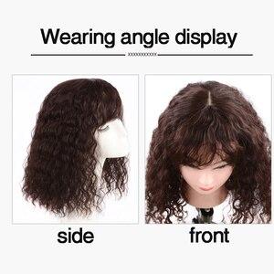 Image 4 - Allaosify parte superior encerramento peruca encaracolado cabelo sintético feito à mão natural preto cabelo topper grampo de cabelo em extensões de cabelo