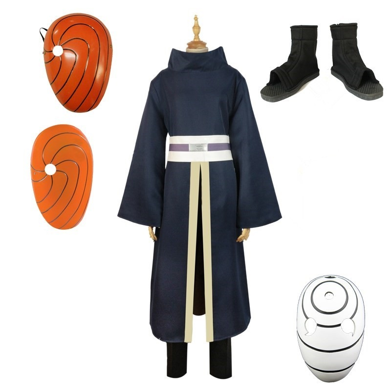 Naruto Cosplay Costumes Uchiha Obito Cosplay Long Sleeves Black Cloak And Mask